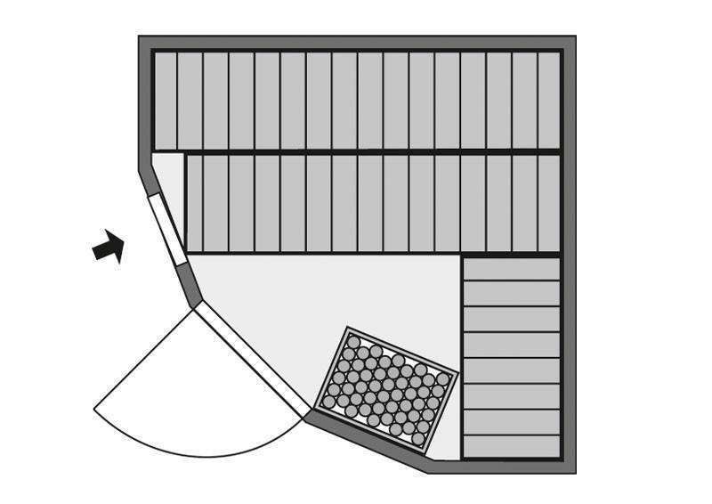 Karibu System Sauna Simara 1 (Eckeinstieg) 68 mm ohne Zubehör mit Fenster