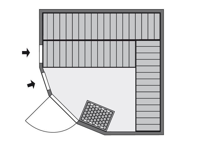 Karibu System Sauna Simara 3 (Eckeinstieg) 68 mm ohne Zubehör mit Fenster