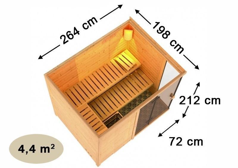 Karibu Massiv Sauna Platina 3 (Fronteinstieg) 40 mm mit Dachkranz ohne Zubehör