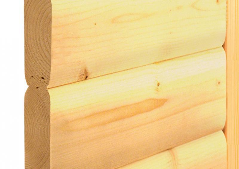 Karibu Heimsauna Sahib 1 (Eckeinstieg) ohne Zubehör mit Dachkranz 40 mm Massivholzsauna
