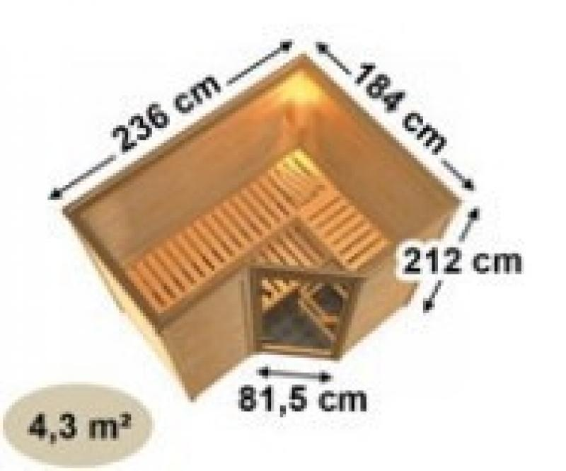 Karibu Massiv Sauna Sahib 2 Classic (Eckeinstieg) 40 mm mit Dachkranz ohne Zubehör