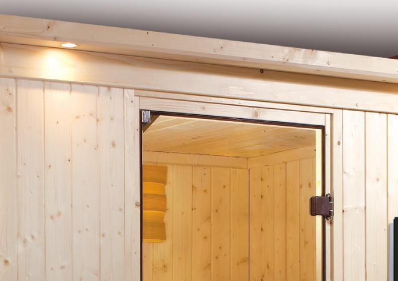 Karibu Heimsauna Lenja( Fronteinstieg) ohne Zubehör mit Dachkranz Plug & Play 230Volt Sauna