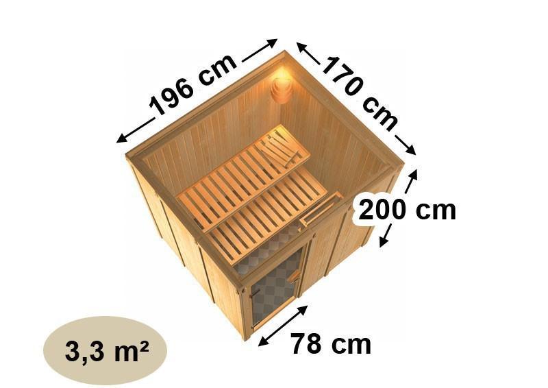 Karibu System Sauna 230 Volt Daria (Fronteinstieg) 68 mm mit Dachkranz