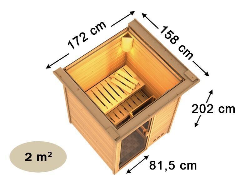Karibu Massiv Sauna 230 Volt Nadja (Fronteinstieg) 38 mm mit Dachkranz ohne Zubehör