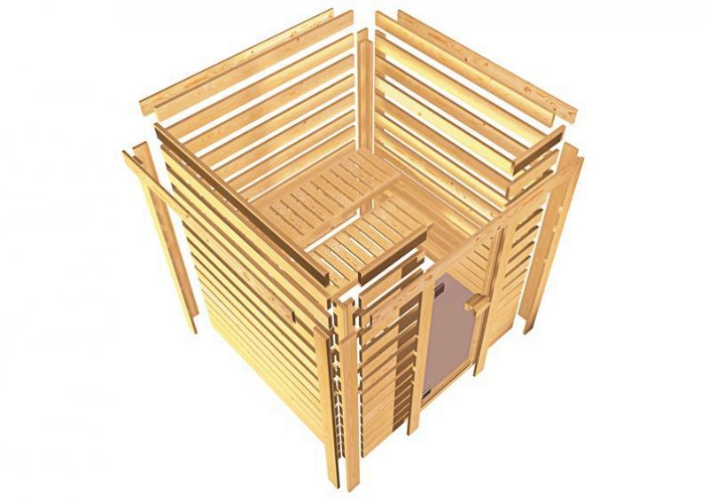 Karibu Massiv Sauna 230 Volt Cilja (Eckeinstieg) 38 mm mit Dachkranz ohne Zubehör