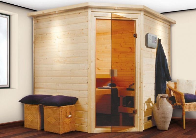 Woodfeeling 38 mm Massiv Sauna Nina Classic (Eckeinstieg) mit Dachkranz