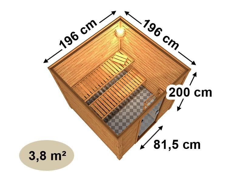 Woodfeeling 38 mm Massiv Sauna Nora Classic (Fronteinstieg) mit Dachkranz und Energiespartür