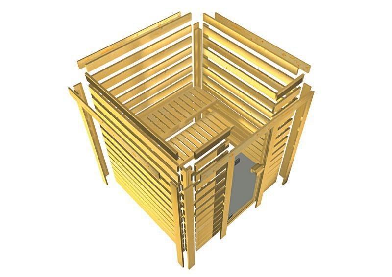 Woodfeeling 38 mm Massiv Sauna Nora Classic (Fronteinstieg) mit Dachkranz und klarglas Ganzglastür