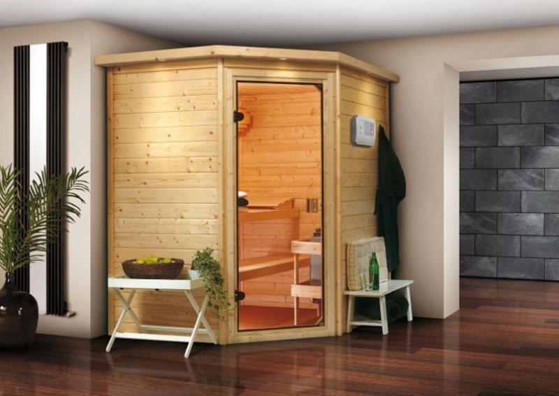 Woodfeeling 38 mm Massiv Sauna Mia Classic (Eckeinstieg) mit Dachkranz