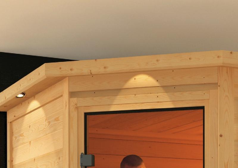 Woodfeeling 38 mm Massiv Sauna Svea Classic (Eckeinstieg) mit Dachkranz