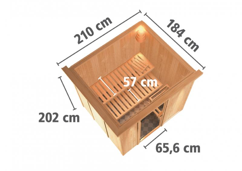 Karibu Heimsauna Sodin (Fronteinstieg)   Ofen 9 kW integr. Strg  mit Dachkranz 68 mm Systemsauna