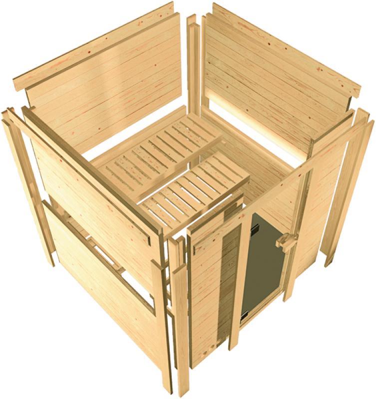 Karibu Heimsauna Sahib 2 (Eckeinstieg) Ofen 9 kW Bio externe Strg easy Kein Kranz 40 mm Massivholzsauna