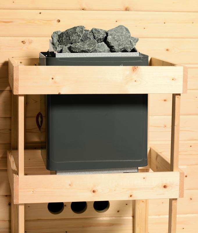 Karibu Heimsauna Nanja ( Eckeinstieg) Ofen 3,6 kW intgr. Strg   mit Dachkranz Plug & Play 230Volt Sauna