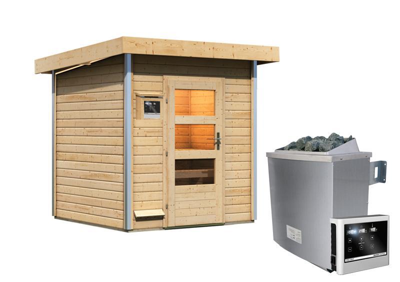 Karibu Systemsaunahaus 38 mm Saunahaus Torge  Ofen 9 KW externe Strg easy  Gartensauna