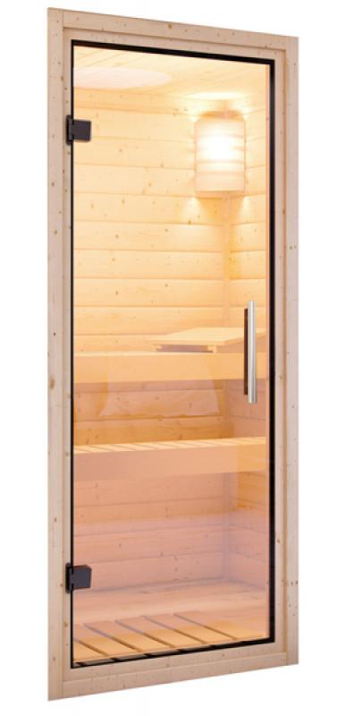 Woodfeeling 38 mm Massivholz Sauna Svenja (Fronteinstieg) Ofen 9 KW externe Strg modern Heimsauna