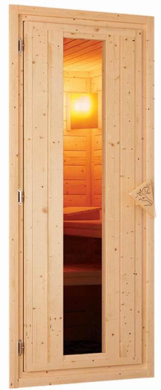 Woodfeeling 38 mm Massivholz Sauna Franka (Eckeinstieg) Ofen 9 KW externe Strg modern Heimsauna