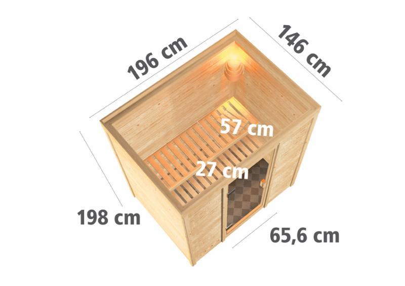 Woodfeeling 38 mm Massivholz Sauna Sonja (Fronteinstieg) Ofen 9 kW integr. Strg  Heimsauna