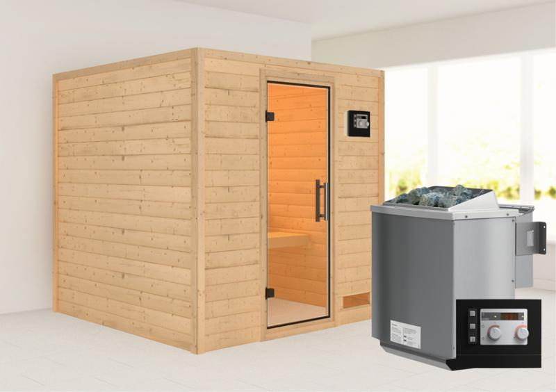Woodfeeling 38 mm Massivholz Sauna Nora (Fronteinstieg) Ofen 9 kW Bio externe Strg modern Heimsauna
