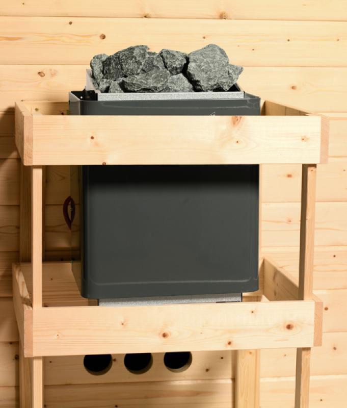 Woodfeeling 38 mm Massivholz Sauna Nina (Eckeinstieg) Ofen 9 kW Bio externe Strg modern Heimsauna