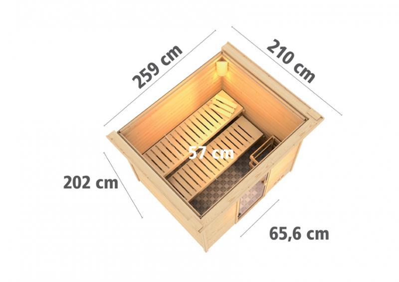 Woodfeeling 38 mm Massivholz Sauna Karla (Fronteinstieg) Ofen 9 KW externe Strg modern Heimsauna