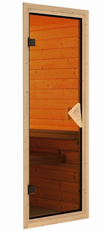 Woodfeeling 38 mm Massivholz Sauna Leona (Eckeinstieg) Ofen 9 KW externe Strg modern Heimsauna