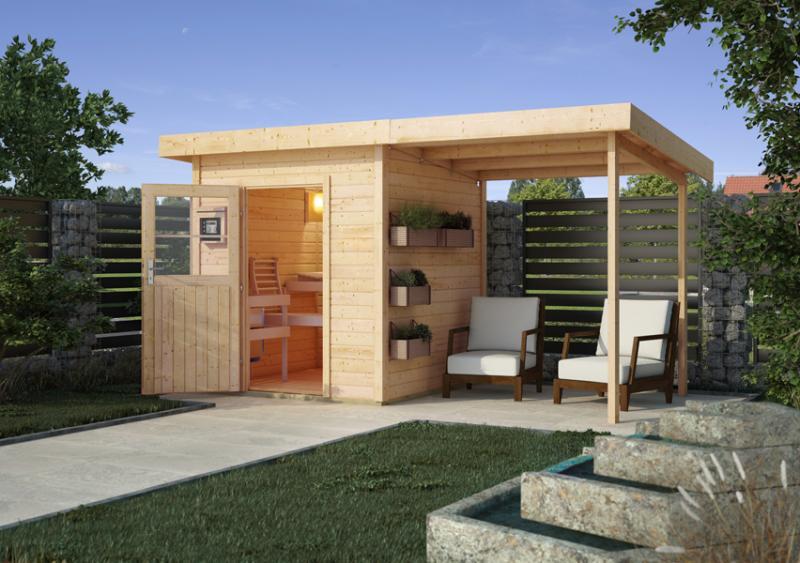 Woodfeeling Massives 38 mm Saunahaus Taina Ofen 9 kW Bio externe Strg modern Gartensauna