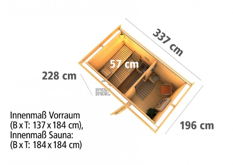 Woodfeeling Massives 38 mm Saunahaus Suva 1  Ofen 9 kW integr. Strg  Gartensauna
