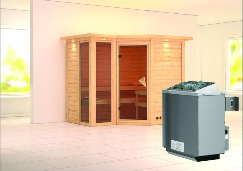 karibu massiv sauna amara eckeinstieg 40 mm mit. Black Bedroom Furniture Sets. Home Design Ideas