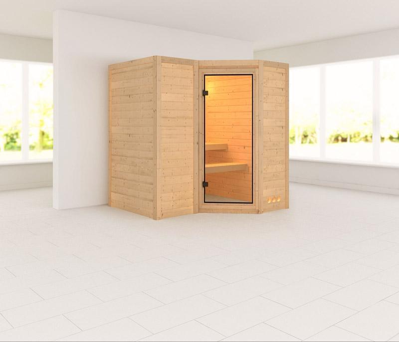 Karibu Massiv Sauna Sahib 1 Classic (Eckeinstieg) 40 mm ohne Zubehör