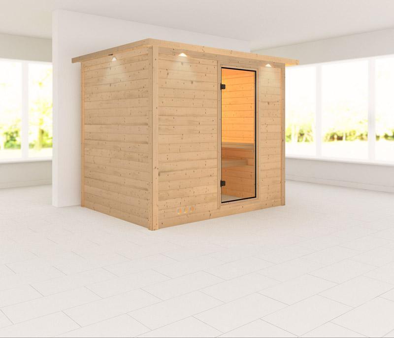 Karibu Massiv Sauna Sonara Classic (Fronteinstieg) 40 mm mit Dachkranz ohne Zubehör