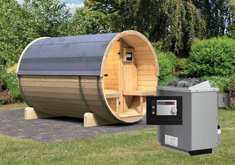 Karibu Gartensauna Fass-Sauna 2 mit Terrasse inkl. Ofen 9 KW ext. Steuerung
