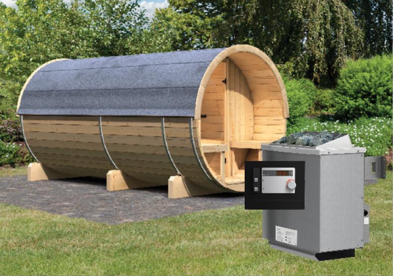 Karibu Gartensauna Fass-Sauna 4 mit Vorraum inkl. Ofen 9 KW ext. Steuerung