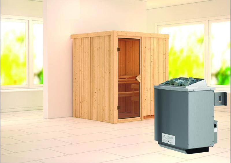 Karibu System Sauna Laurin (Fronteinstieg) 68 mm inkl. Ofen 9 kW integr. Steuerung