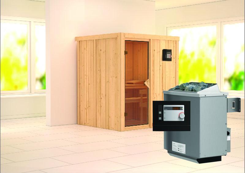 Karibu System Sauna Laurin (Fronteinstieg) 68 mm inkl. Ofen 9 kW ext. Steuerung