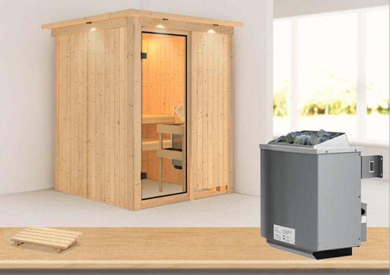 Karibu System Sauna Norin Classic(Fronteinstieg) 68 mm mit Dachkranz inkl. Ofen 9 kW mit integr. Steuerung