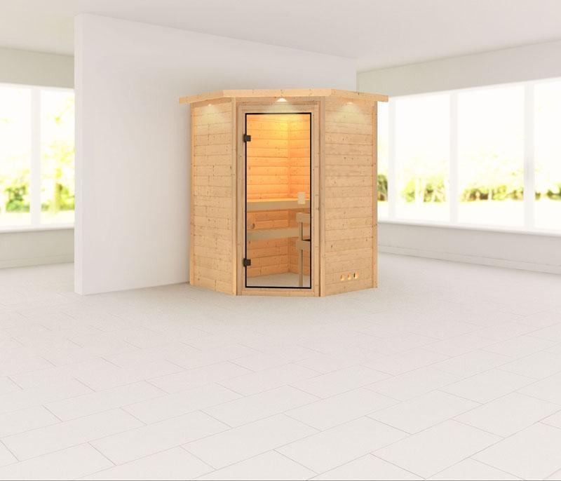 Karibu Massiv Sauna 230 Volt Alicja (Eckeinstieg) 38 mm mit Dachkranz ohne Zubehör