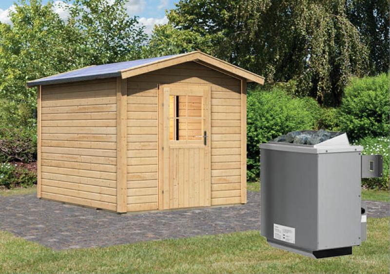 Karibu Gartensauna Bosse mit Vorraum inkl. Ofen 9 kW mit integr. Steuerung
