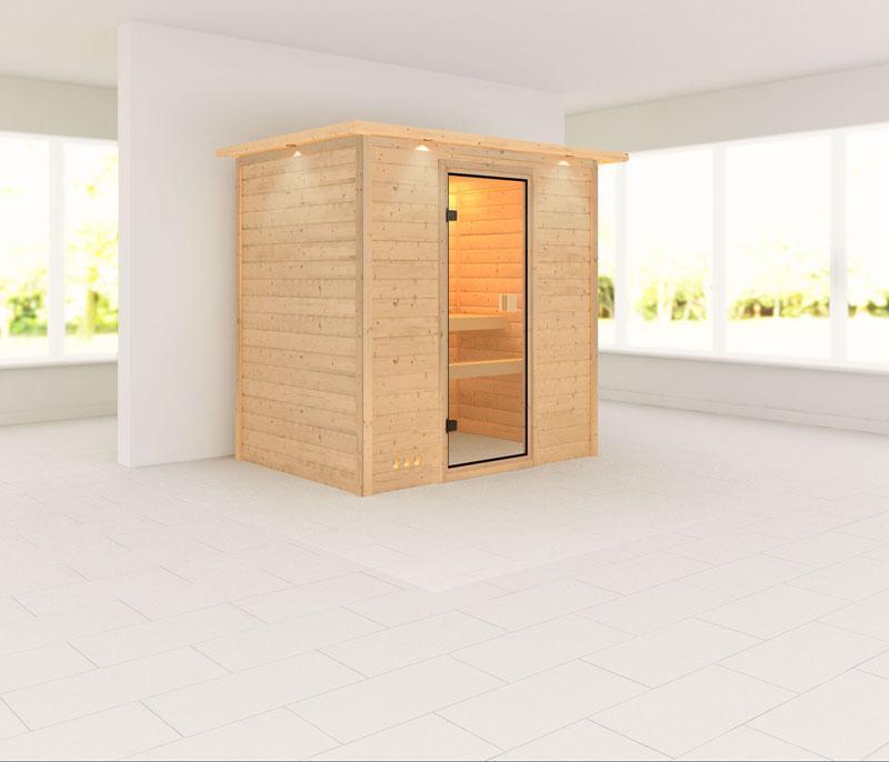 Karibu Massiv Sauna 230 Volt Ronja (Fronteinstieg) 38 mm mit Dachkranz ohne Zubehör