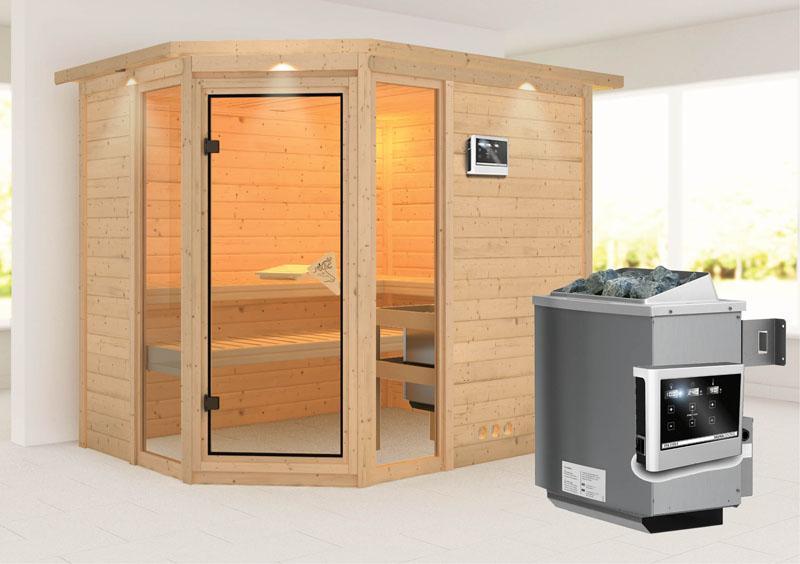 karibu massiv sauna sinai 3 eckeinstieg 40 mm mit dachkranz inkl ofen 9 kw ext steuerung. Black Bedroom Furniture Sets. Home Design Ideas