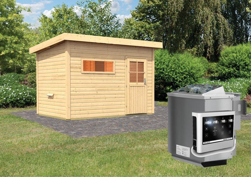 Karibu Gartensauna Pultdach Skrollan 2 mit Vorraum  inkl. Ofen 9 kW Bio-Kombi ext. Steuerung