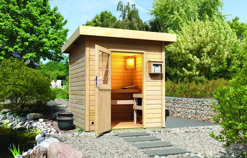 Sauna-Spar-Set: Karibu Scandic Pultdach Saunahaus 38 mm Massiv Göteborg 1 (Maße: 196x196 cm) inkl. 9 KW Finnisch-Ofen ext. Strg. und Zubehör inkl. Kabelsatz - Selbstbausatz