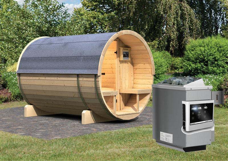 Karibu Gartensauna Fass Sauna 2 Mit Terrasse Inkl Ofen 9 Kw Ext