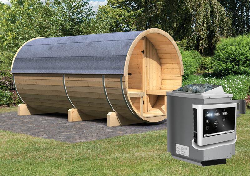 Karibu Fass Sauna 42 mm Fasssauna 4 Ofen 9 KW externe Strg easy Sauna