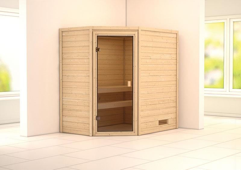 Karibu Massiv Sauna 230 Volt Cilja (Eckeinstieg) 38 mm ohne Zubehör