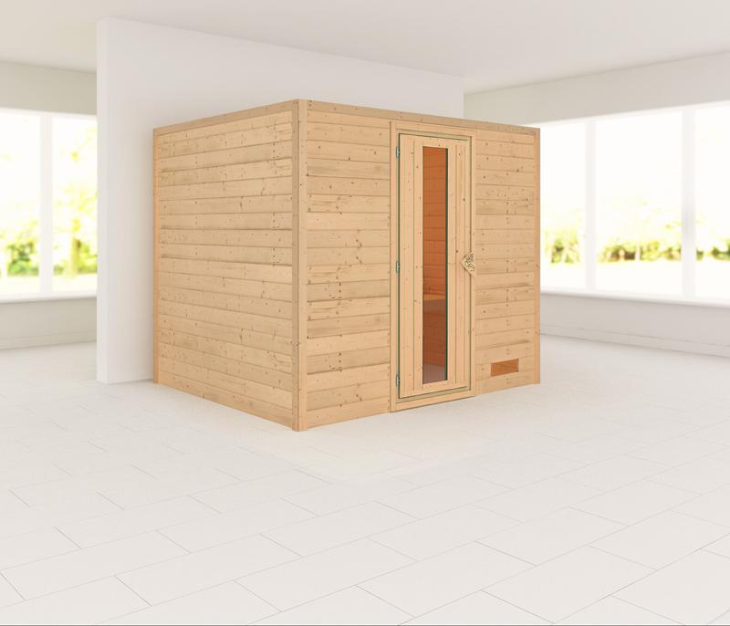 Woodfeeling 38 mm Massiv Sauna Karla Classic (Fronteinstieg) ohne Dachkranz mit Energiespartür