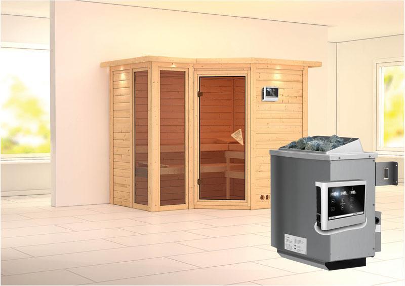 karibu massiv sauna amara eckeinstieg 40 mm mit dachkranz inkl ofen 9 kw ext steuerung. Black Bedroom Furniture Sets. Home Design Ideas