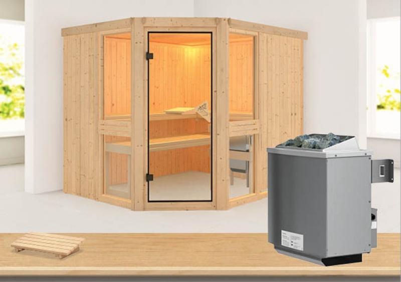 Karibu System Sauna Amelia 3 (Eckeinstieg) 68 mm inkl. Ofen 9 kW mit integr. Steuerung