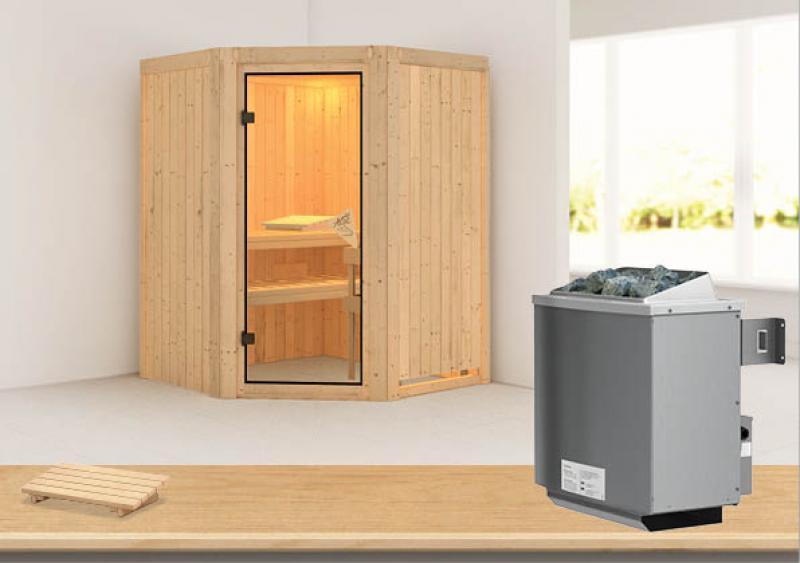 Karibu Heimsauna Asmada  (Rundeinstieg) Ofen 9 kW integr. Strg  Kein Kranz 68 mm Systemsauna