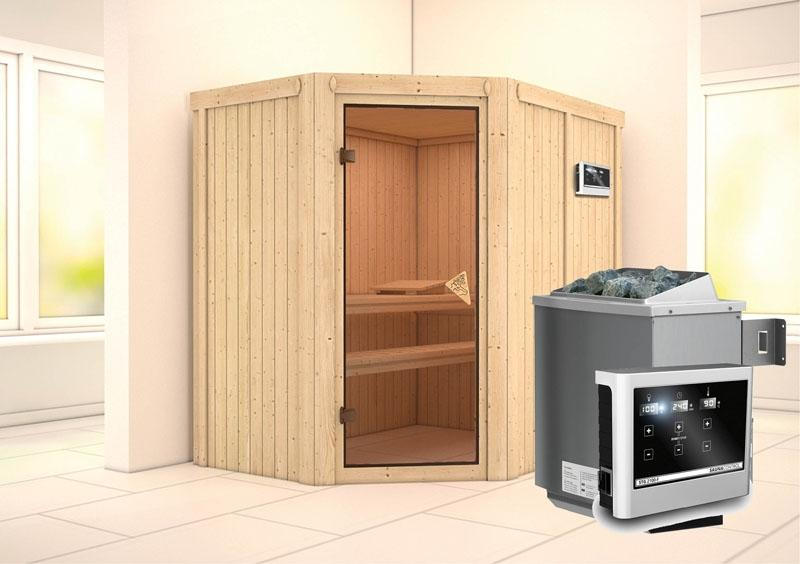 Karibu System Sauna Carin Classic (Eckeinstieg) 68 mm inkl. Ofen 9 KW ext. Steuerung