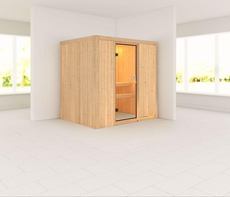 Karibu Heimsauna Fanja (Fronteinstieg)   ohne Zubehör Kein Kranz Plug & Play 230Volt Sauna